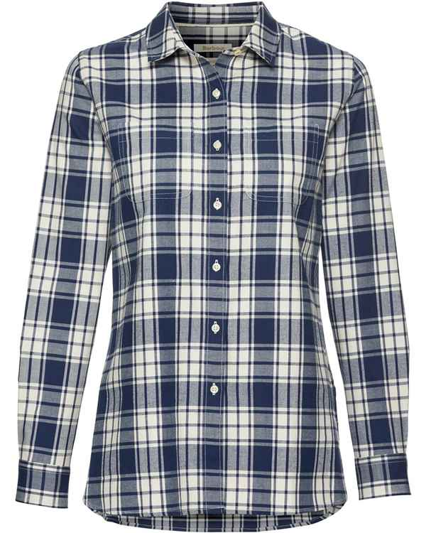 Barbour Bluse Northcoates Ecru/Marine