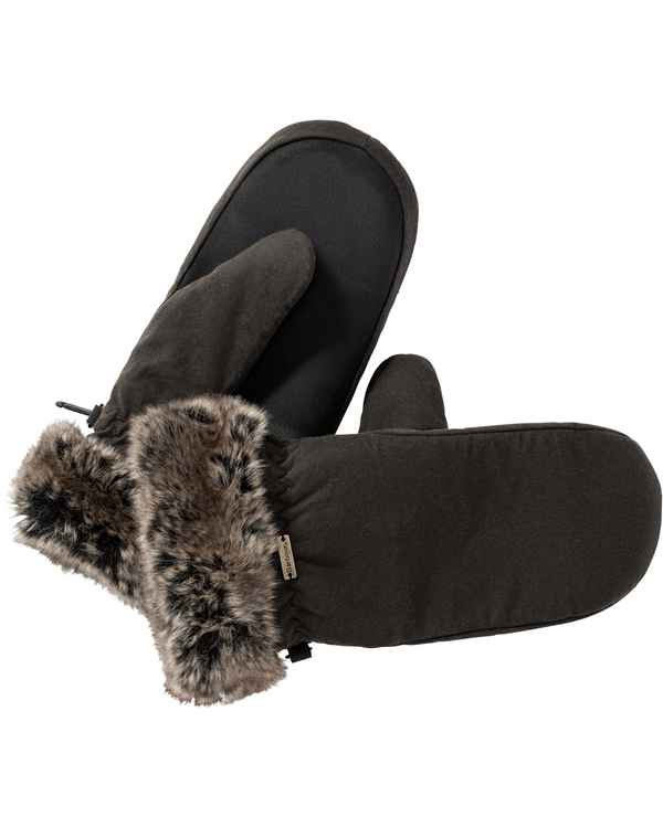 Barbour Handschuhe Wax Fur Trim Mittens Oliv